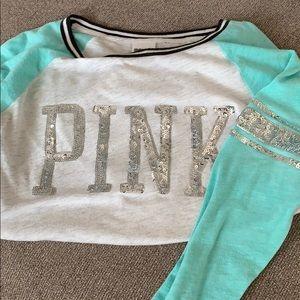 Pink long sleeve sequin T-shirt